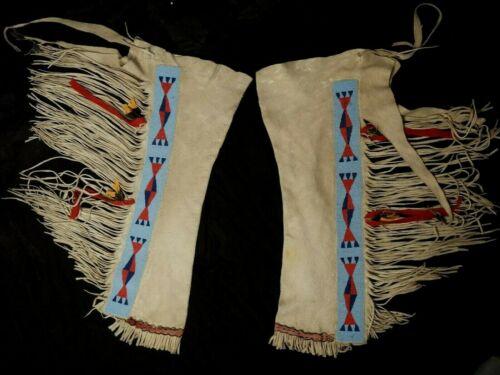 Antique Brain Tanned Deer Hide Leggings - Blackfeet - 1880-1900