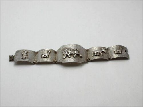 Silver Tone Wide Link Bracelet with Animal Design