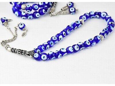 Turkish Greek Evil Eye Worry Beads Komboloi Rosary Prayer Tasbih 8mm Handmade