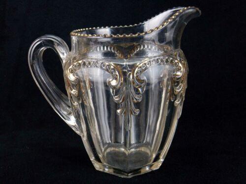 Antique Glass Water Pitcher, Fostoria Glass Priscilla Pattern, Circa 1901