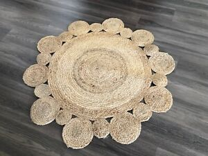 EX DISPLAY Round Natural Woven Jute Floor Rug Carpet Modern Brown