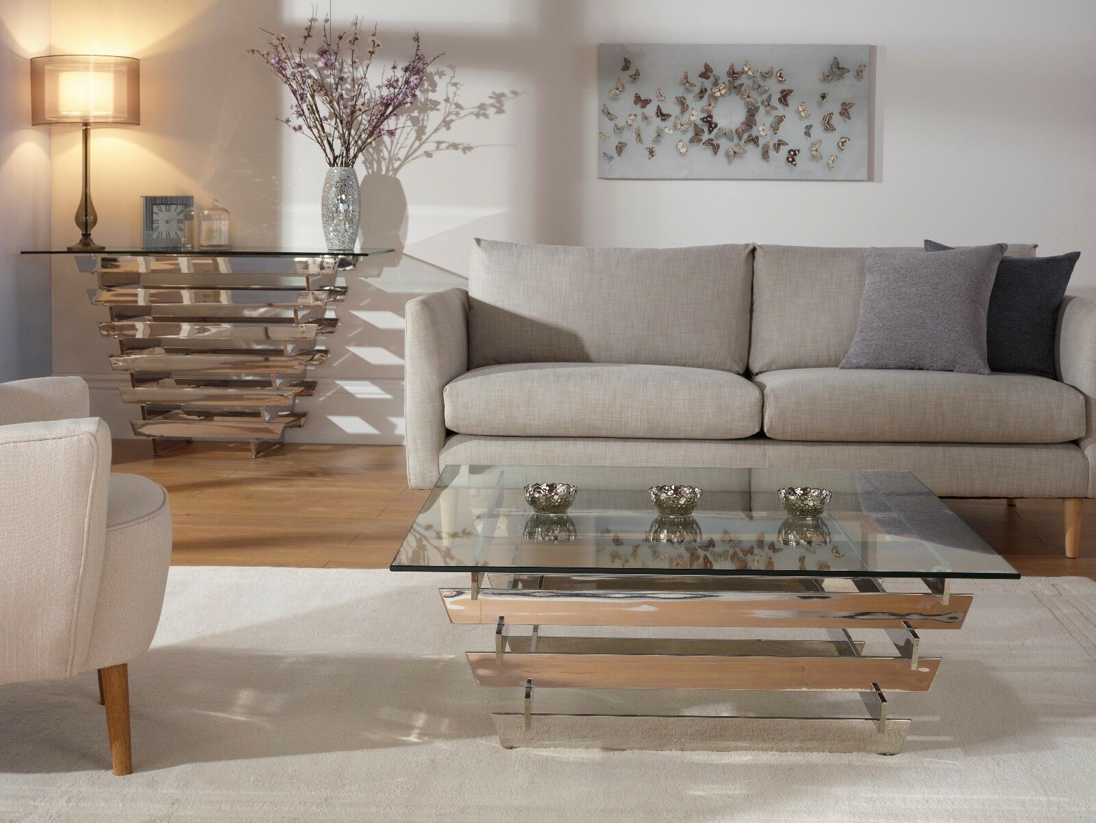 Details About Kyoto Modern Coffee Table Slatted Design In Thick Glass Stainless Steel Frame