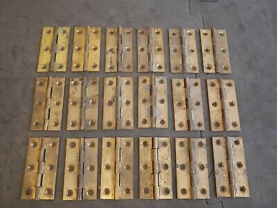 9 pairs (18) Vintage reclaimed Heavy Duty drawn Solid Brass Hinges, 3 Inch 76mm