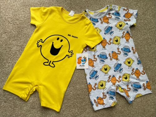 F&F Pack of 2 MR MEN Baby Unisex Romper Suits All in One Outfit 12-18 Months New