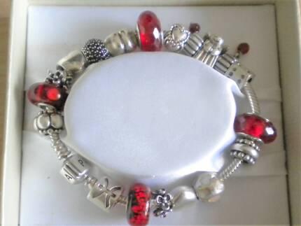 Pandora Silver ' Moments ' Bracelet & Charms ...19cm