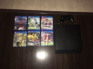PS4 + controller and 6 games