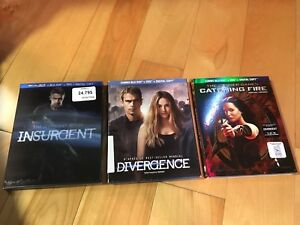 Blu Ray neufs Divergent 1 et 2 Hunger games Catching Fire