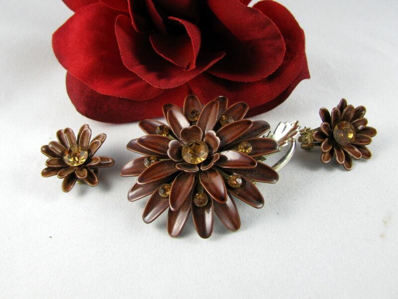 Vintage Lisner Enamel Rhinestone Flower Pin Brooch & Earrings Set  CAT RESCUE