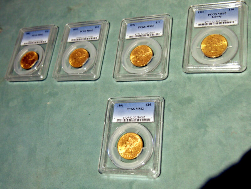 MS62 -PCGS 5 X $10  LIBERTY  GOLD COINS  (DIFFERENT YEARS)PRICE IS FOR 1 COIN