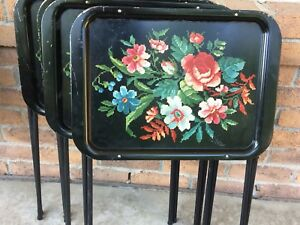 4 small vintage TV trays