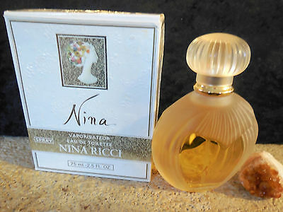 *vintage Nina by Nina Ricci 75 ml / 2.5 oz edt spray Lalique collector's bottle