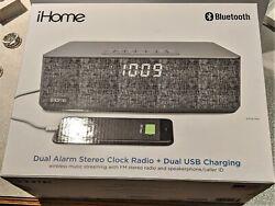 iHome Bluetooth Dual Alarm Clock FM Radio USB Charge Grey Speakers and Alarm NIB