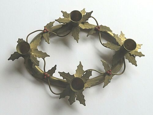 VTG Brass Holiday Holly Red Berries Christmas Advent Wreath 4 Candle Holder