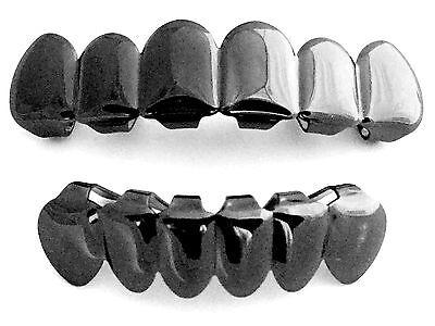 (Gun Metal Hmatite Black Mouth Teeth Grills Grillz Upper & Lower Set New - Player)