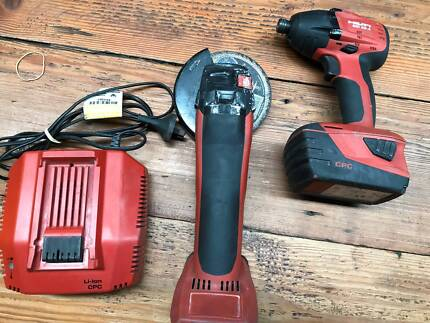 HILTI SID 144-A CORDLESS DRILL and ANGLE GRINDER AG125-A22