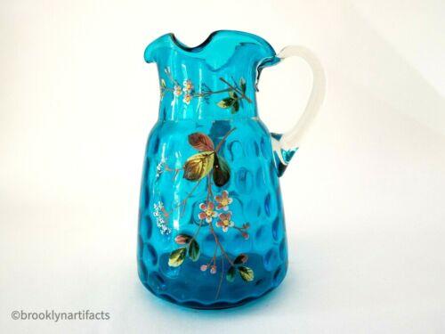 Antique Victorian Blue Blown Glass Water Pitcher - Hand Painted Florals