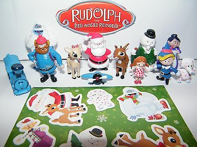 Rudolph the Red Nosed Reindeer Figure Set of 12 with Bonus Holiday Sticker Sheet