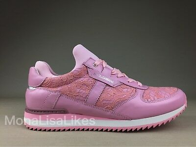 New DOLCE & GABBANA Pink Lace Floral Sneakers Running Tennis Shoes Trainers 40