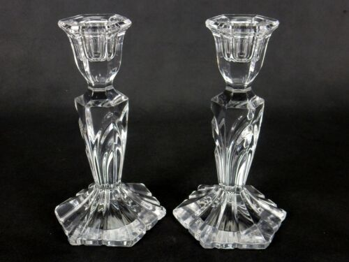 Pair Of Vintage Crystal Glass Candlesticks, Column Candle Holders Hexagonal Base