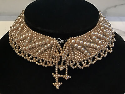 """Vintage Champagne Pearl Collar Necklace """"Ruth Bader Ginsburg"""" Halloween Costume"""