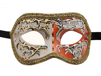 Mask from Venice Colombine Night and Day Orange for Fancy Dress 1339 V74