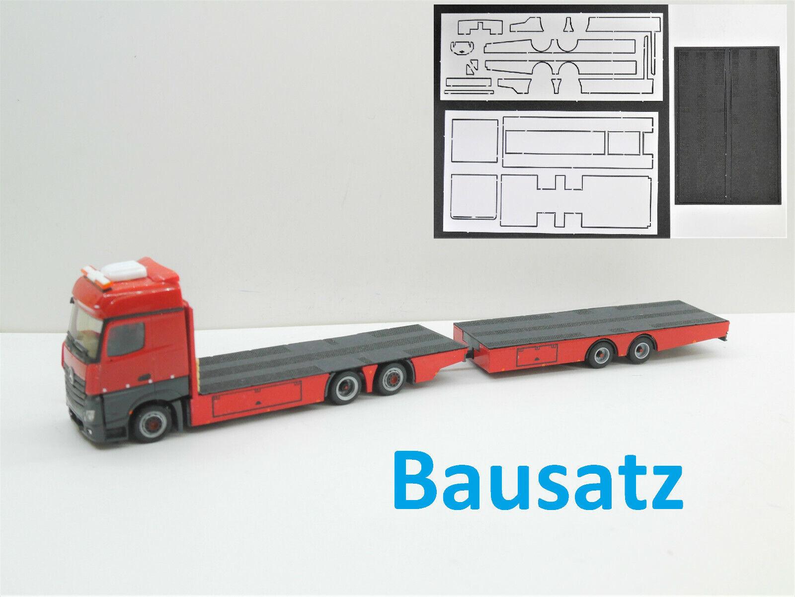 1:87 EM120 BAUSATZ Aufbau Lowliner Tandem Hängerzug für  Herpa Umbau Eigenbau