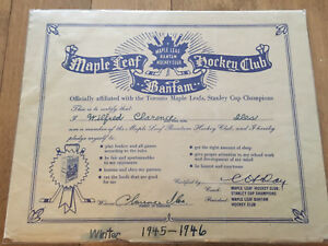 1945 Bantam Maple Leaf Membership Certificate