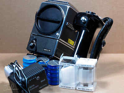 Hasselblad 500 EL/M with 120 back, hand-grip, batteries, charger, extras