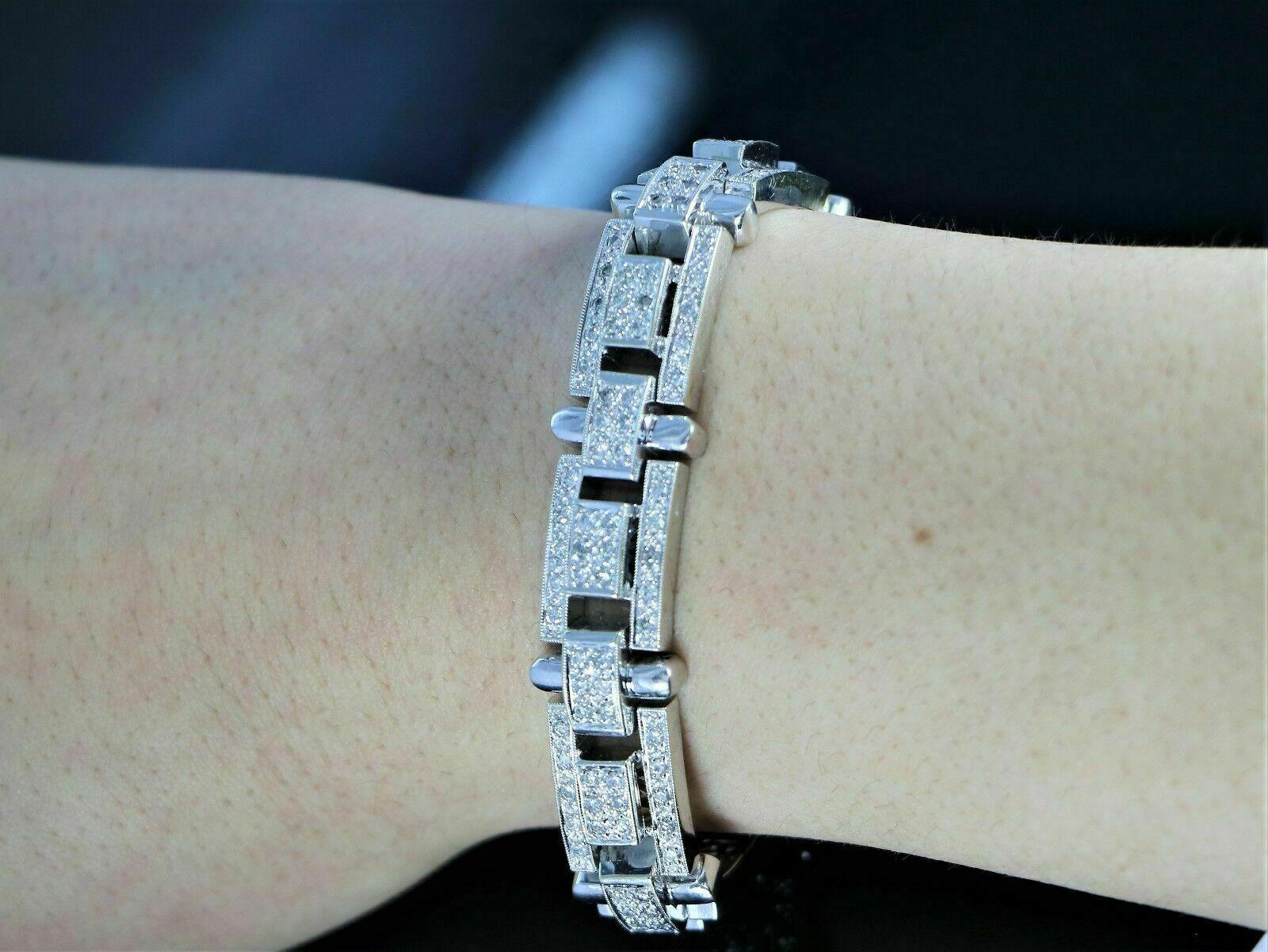 13.25Ct Round Cut Diamond 14K White Gold Over Men's Exclusive Tennis Bracelet 7