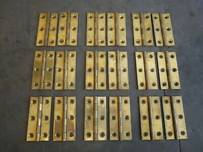 9 pairs (18) Vintage reclaimed Heavy Duty Solid Brass Hinges, 3 Inch (76mm)