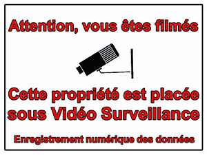 plaque en aluminium signaletique maison sous video surveillance alarme 10x15cm ebay. Black Bedroom Furniture Sets. Home Design Ideas