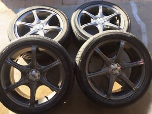 MAGS 17' 4X100 & 4X114,3 + SUMMER TIRES . 400$