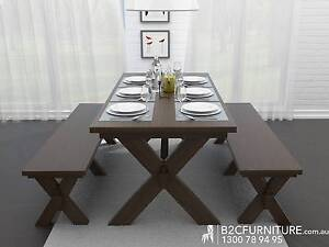Dining suite with benches in rustic walnut - Coco 3PCE Dandenong South Greater Dandenong Preview