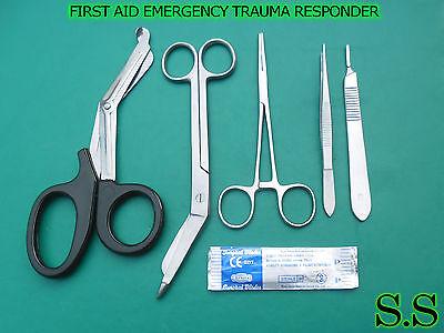 5 Pcs First Aid Emergency Trauma Responder Kit5 Surgical Blades 11 Instruments