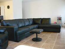 Modular Leather Lounge Suite/Sofa with Chaise (Black) $700 Helena Valley Mundaring Area Preview