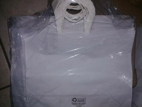 "100p White Premium Folded Top Paper Bag White Rope Handles 16""W x 6""D x 12 1/2""H"