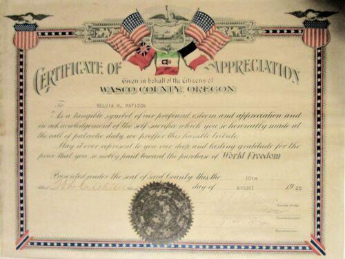 1920 WWI Veteran Belvia M. Patison Wasco Co. OR Appreciation Cert. Wasco Co. OR