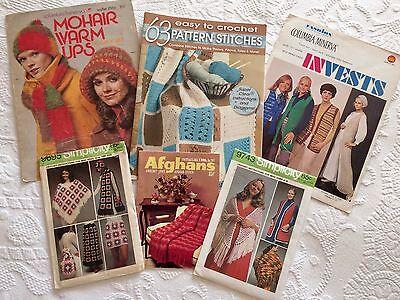 LOT 6pcs Vtg 60/70s Crochet Patterns*Instructions:Vest*Hat*Afghans*Granny Square