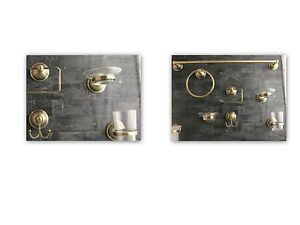 Set accessori da bagno 6 pezzi bronzo con rifiniture for Accessori bagno ebay