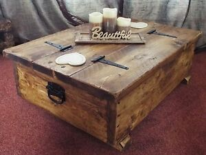 Coffee table storage box wooden plank rustic blanket chest toy chunky sleeper