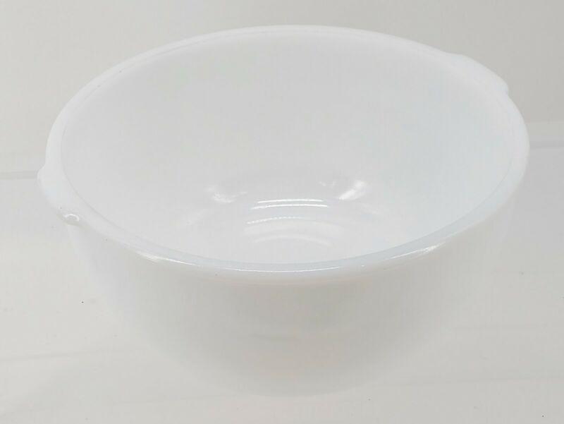 "Vintage Glasbake Made for Sunbeam Large White Milk Glass Mixer Bowl 9.5"""