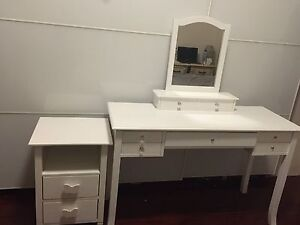 White Vanity / Dressing Table + Bedside table Bedroom Suite Hornsby Hornsby Area Preview