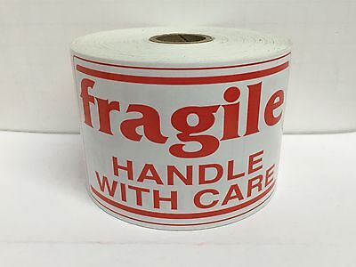 500 Large Labels 3x5 White Red Fragile Handle With Care Shipping Stickers
