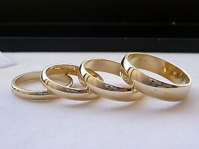 4mm Solid Gold Wedding Band (3mm, 4mm, 5mm, 6mm 14K SOLID GOLD MEN'S WOMEN'S WEDDING BAND RING free)