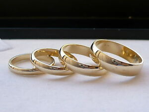 3mm 4mm 5mm 6mm 14k solid gold mens womens wedding band