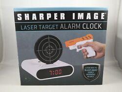 Laser Gun Alarm Clock Sharper Image Shoot to Stop Target Shooting. Tested