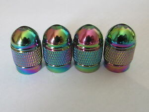 Neo Chrome Rainbow Alu Tyre Wheel Valve Round Bullet Dust Caps x4 Car Bike BMX