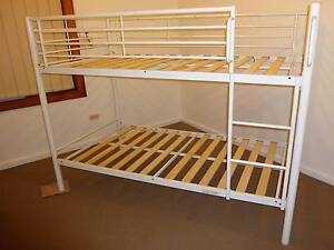 White Single Bunk Beds (Steel and Ply Slats) Elizabeth Park Playford Area Preview