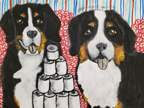 BERNESE MOUNTAIN DOG Toilet Paper Original 9x12 Pastel Painting by Artist KSams