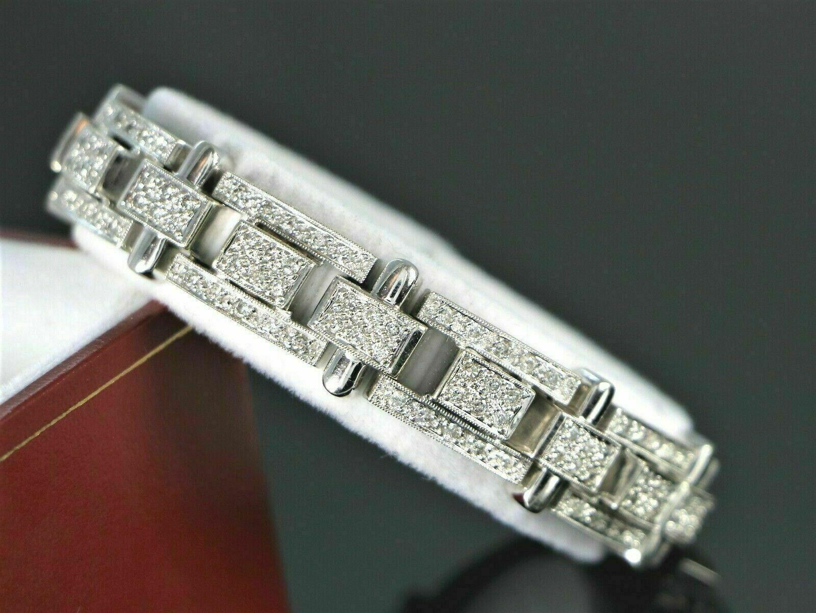 13.25Ct Round Cut Diamond 14K White Gold Over Men's Exclusive Tennis Bracelet 1